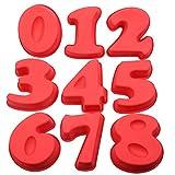 Cuigu - Stampi a forma di numero per torta, in silicone, per cottura al forno, per compleanno e anniversario, numeri 0,1,2,3,4,5,6,7,8, Plastica, 0-8, 6.77' x 5.24' x 1.77'