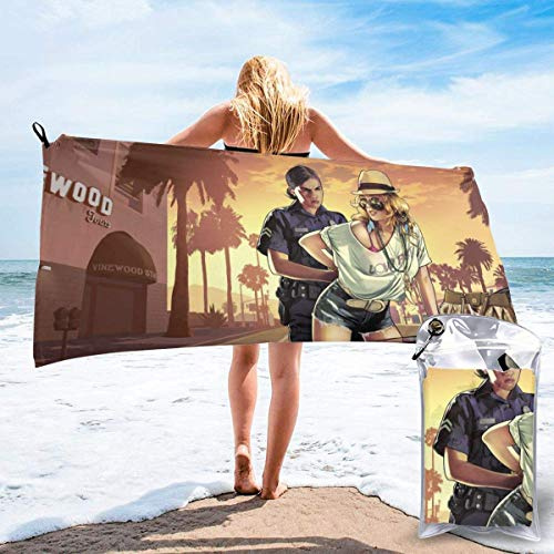 SFWER GTA Game Quick Dry Bath Towel Microfiber Portable Lightweight Travel Sports Towel for Camping Backpacking Hiking Beach YOG Swimming Gym Sports Swimming