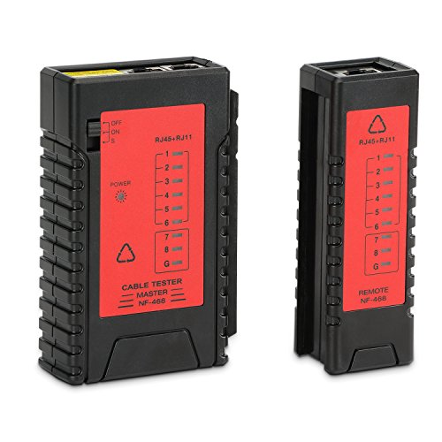 Incutex Netzwerk Kabeltester RJ45 RJ11 Patchkabel Tester LAN Netzwerktester Leitungstester Ethernet Network Cable Tester, schwarz-rot