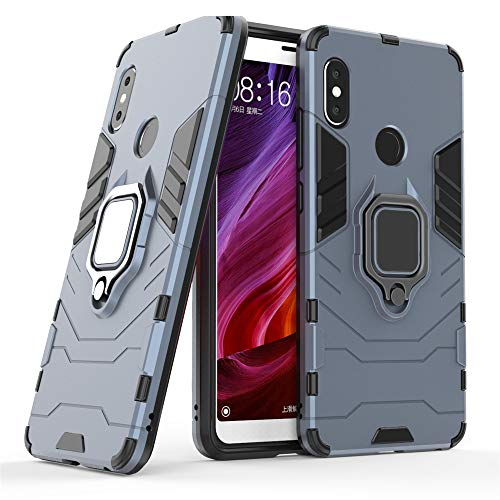 DESCHE für Xiaomi Redmi Note 5/Pro hülle, Ringhalterung hülle + Bildschirmschutz, kompatibel mit magnetischer Autohalterung - Navy