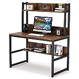 Tribesigns Mesa de escritorio de madera, mueble de libros con espacio de almacenamiento, mesa de ordenador para estudio