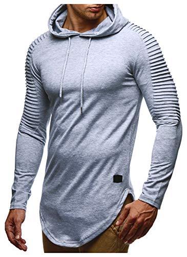 Leif Nelson Herren Kapuzenpullover Slim Fit Baumwolle-Anteil Moderner weißer Herren Hoodie-Sweatshirt-Pulli Langarm Herren schwarzer Pullover-Shirt mit Kapuze LN6369 Grau Medium