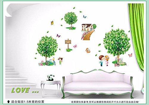 HCCY Windpark Bäume wall Poster romantisches Schlafzimmer Doppelbett Wohnzimmer Sofa TV Wall Sticker abnehmbaren Aufkleber 130 * 80 cm, Baum