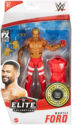 WWE Montez Ford Elite CollectionSeries # 81 Action Figure, 6-in/15.24-cm Posable Collectible Gift Fans Ages 8 Years Old & Up​, GVB37