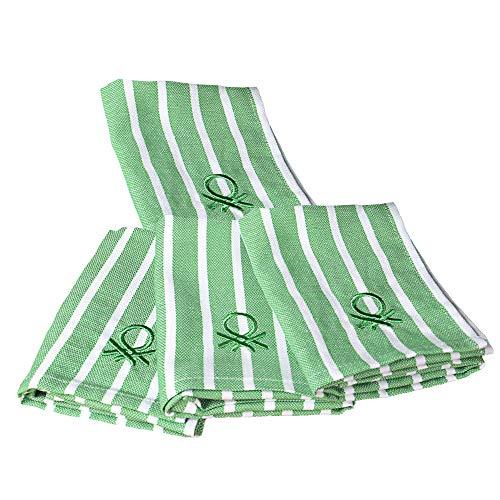 UNITED COLORS OF BENETTON. Set 4pcs paños Cocina 33x45cm 170gsm 100% algodón Verde Casa Benetton, 45x33