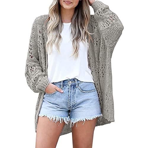 Damski sweter z miękkiej grubej dzianiny z długim rękawem, otwarty przedni kardigan znosić płaszcz-Szary_S