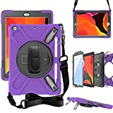 ZenRich iPad 10.2 Case, iPad 8th/ 7th Generation Case with Screen Protector Pencil Holder Kickstand Hand Strap and Shoulder Strap,zenrich Case for iPad 10.2 inch 2020/2019 Released-Purple