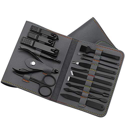 Leeofty 16 pcs Manicura Pedicura Set,Juego de cortaúñas profesional de acero inoxidable, Cuero PU juego de uñas portátil, hogar/viaje/SPA/salón (Grey)
