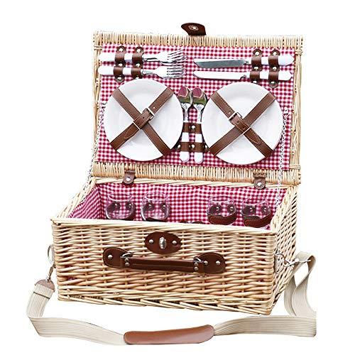 YIJIAHUI Picknickkorb Picknickkorb for 4 Personen PicknicksetPicknickteller Picknickzubehör Sommerpicknickset Picknickutensilien Picknickkorb Besteckset Besteckset für Camping im Freien