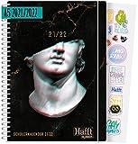 Häfft PLANER Premium A5 2021/2022 [Where is my mind?] witziger Schülerkalender, Schülerplaner, Hausaufgabenheft, Schüler-Tagebuch, Schulplaner   mit Gummiband & verstärktem Einband