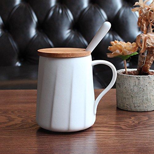 Hyl Simple Couverture Scoop de céramique mug à café 400 ML,White,la Couverture du Bambou