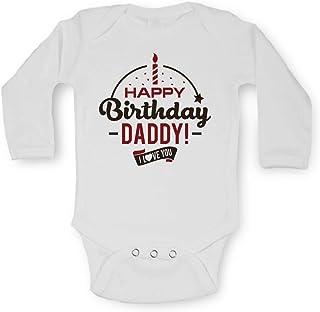 Bullshirt Happy Birthday Daddy Gris /à manches courtes Body gris 0-3 mois