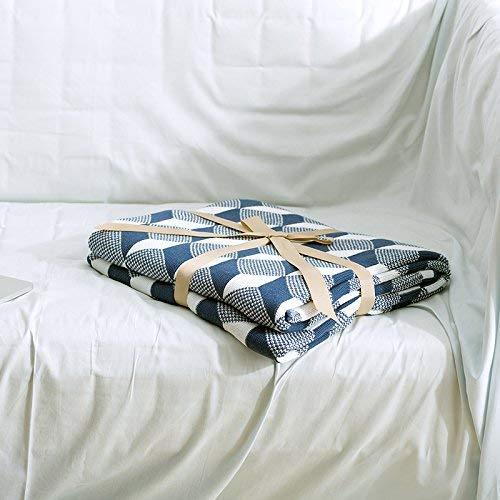 Martinad Coperta in Maglia Nautica per Casual Chic Divano Sofà Aria Condizionata Coperta Estiva 150 X 200 Cm Blu semplicità Stile Classico (Color : Blau, Size : 150 * 200Cm)