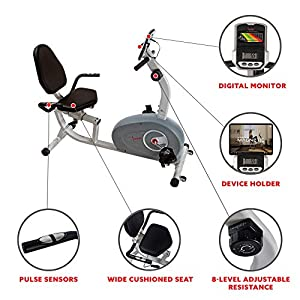 Sunny Health & Fitness Magnetic Recumbent Exercise Bike - SF-RB4905
