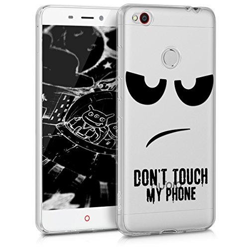 kwmobile Funda Compatible con ZTE Nubia N1 - Carcasa de TPU y Don't Touch my Phone en Negro/Transparente