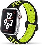 VIKATech Compatible Cinturino per Apple Watch Cinturino 40mm 38mm, Due Colori Morbido Silicone Traspirante Cinturini Sportiva di Ricambio per iWatch Series 5/4/3/2/1, M/L, Nero/Volt
