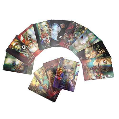 Tarot Card, 45 Cartas de Tarot Romance Wonderland Hologram Paper Flash Tarjeta de Oracle, Misteriosa Tarjeta de Adivinación Interactiva Clásico Juego de Mesa en Inglés para el Futuro Lector Experto