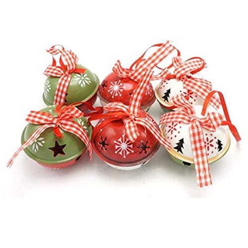 DYHM cascabeles 6PCS Inicio Verde Rojo del Metal Blanco Decoración de Bell (Christmas Bell Size : 50mm, Color : 1)