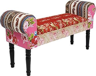 Dimensions : 100 x 54 x 30 cm Multicolore Matériaux: housse 100% coton, lamellé-collé, mousse en polyester, catalpa Banc Pieds de couleur contrastée, 2 accoudoirs [Méridienne]