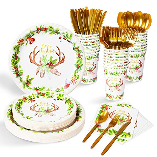 Decorlife Christmas Party Plates with Holly Leaves and Red Berries Garland, 192PCS Christmas Party Supplies, 10.25' and 8' Holiday Paper Plates and Napkins, 12oz Party Cups, Cutlery Included