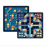 FEANG 2 en 1 Serpientes y escaleras, Juego de Juegos de Ludo con Piezas de ajedrez, Juego de Mesa de Viajes Multifuncional portátil para niños Adultos Familia