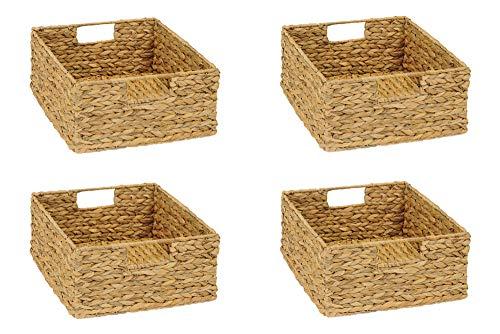 INWONA 4er-Set Regal Korb für Halbes Fach IKEA Kallax Regal Wasserhyazinthe Natur Faltkorb Flechtkorb Regalbox Storage Box Aufbewahrungskorb Schrankkorb sehr stabil 31 x 34 x 15 cm