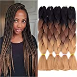 5pcs Jumbo Braid, Ombre Jumbo Braiding Hair, Kanekalon Synthetic Braiding Haarverlängerungen, Jumbo Braids 24inch 5pcs / lot (Schwarz, dunkel, hellbraun)