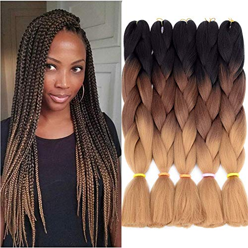 5pcs Jumbo Braid, Ombre Jumbo Braiding Hair, Kanekalon Synthetic Braiding Haarverlängerungen, Jumbo Braids 24inch 5pcs / lot (Schwarz, dunkel, hellbraun)