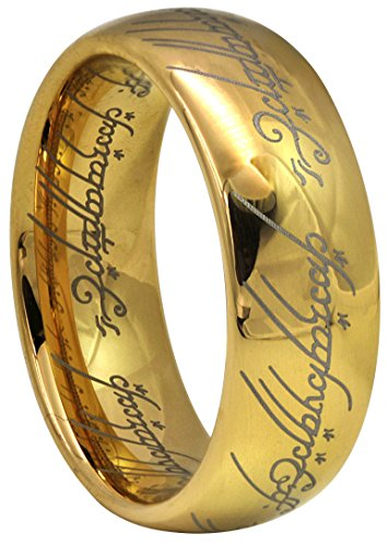 Kingary 6mm 8mm The Magic Ring Gold Plated Tungsten Carbide Ring Band for Men Women Comfort Fit Size 4 to 16(Gold 8mm,8)