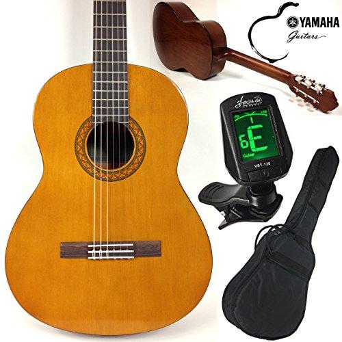 Yamaha C40 Klassik/Konzertgitarre mit Anfänger Set, sfq24 LED-Display Stimmgerät, Tasche, Gurt und 3x Plektren. Die ideale Anfängergitarre mit allem was man braucht