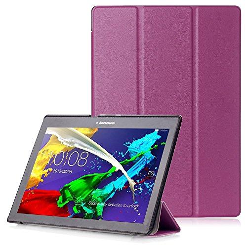"""Lenovo Tab 2 A10 / Tab3 10 Plus / Tab3 10 Business Funda - Carcasa Función Despertador/Reposo Automático para Lenovo Tab 2 A10-30 / A10-70 / Tab3 10 Plus / Tab3 10 Business 10,1"""" Tablet, Morado"""