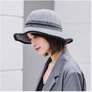 LBLMS Fisherman Hat, Female Autumn and Winter Wild Knitted Wool Hat, Retro Literary Felt Hat, Three-Color Dark Gray, One Size (Color : Black)