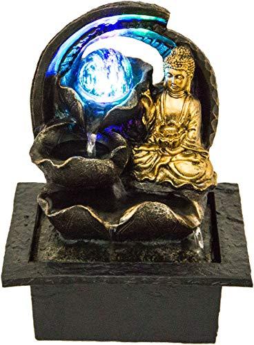 Nativ Zimmerbrunnen mit LED-Beleuchtung, Buddha Figur, Indoor-Brunnen aus Polyresin mit Pumpe und Beleuchtung (Karana mit Kugel)