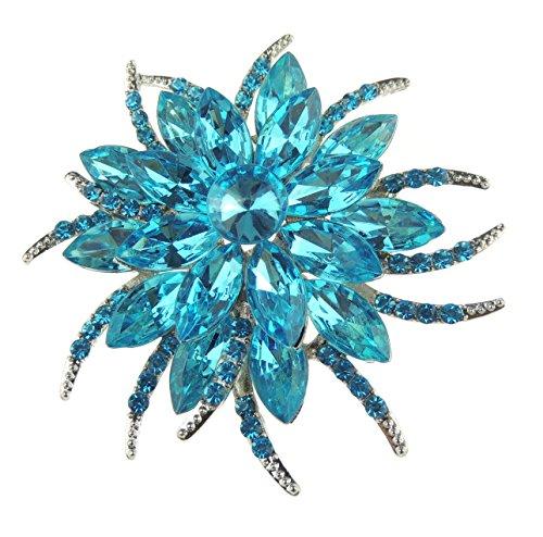 Glamour Girlz Broche de solapa para mujer, diseño floral, color plateado