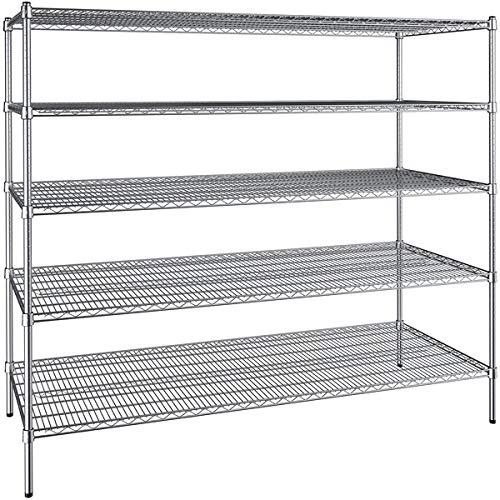 30 inch x 72 inch Chrome Wire 5 Shelf Kit with 64 inch Posts. Storage Shelf. Garage Storage Shelves. Shelving Units and Storage. Food Storage Shelf. Storage Rack. Bakers Racks
