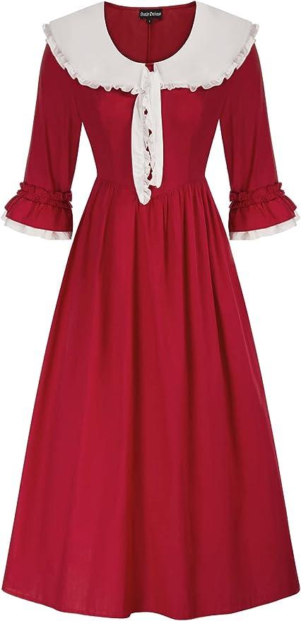 Victorian Dresses | Victorian Ballgowns | Victorian Clothing Women Pioneer Colonial Costume Victorian Dress Prairie Civil War Dresses  AT vintagedancer.com