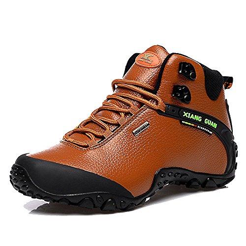 Xiang Guan Femme High-top Cuir Imperméable Outdoor Footwear Chaussures de Camping Randonnée Trail Trekking Bottes (39 EU, Marron)