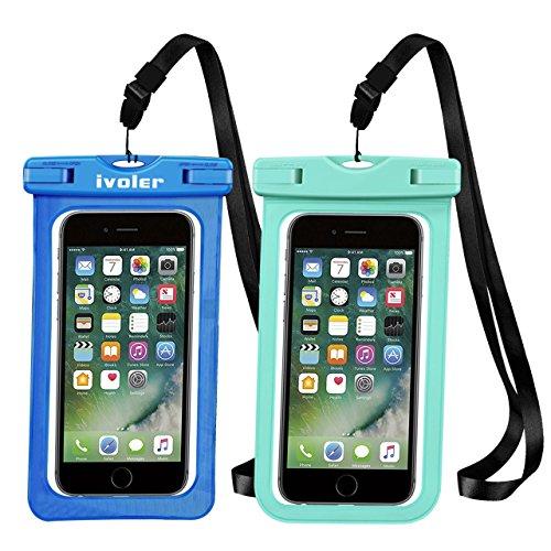 iVoler [2 Pezzi] Custodia Impermeabile Smartphone, IPX8 Borsa Impermeabile Sacchetto Impermeabile Cellulare Dry Bag Universale Waterproof Cover Case per iPhone, Samsung, Huawei, ECC. (Blu+Verde)