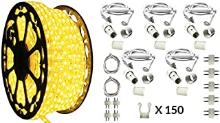 AQL Dimmable Yellow LED Rope Light Deluxe Kit, 120 Volts, Full 360 Degrees LED 513PRO Diode, 150ft/Roll, Commercial Grade Indoor/Outdoor Rope Light, IP65 Waterproof