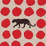 Naturfarbenes Wachstuch mit Leoparden und roten Punkten