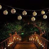 Luces de jardín solares al aire libre Luces de cadena de bola de plata de Marruecos 20led Decoración de jardín de bodas de vacaciones Linternas de ahorro de energía
