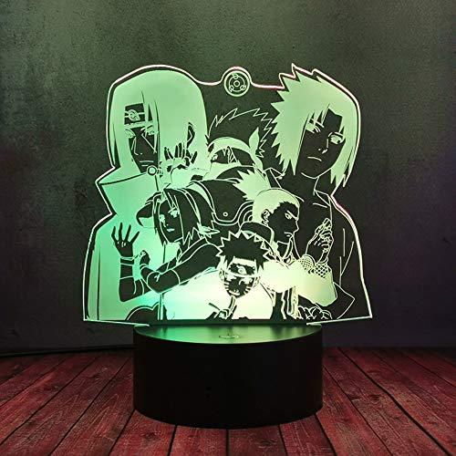 Coole Naruto Uzumaki Naruto Uchiha Sasuke Kakashi Itachi Figur Comic LED Lampe Smart USB Touch 16 Farben Fernbedienung Nachtlicht Jungen Kinder Schlafzimmer Dekor Kind Weihnachtsgeschenke