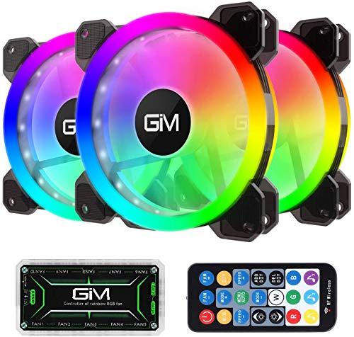 GIM Ventilador de Carcasa RGB de 120 mm, Paquete de 3, Kit 3 en 1 de ICETEK LED para PC con Ventilador RGB, 366 Modos con Controlador y Mando a Distancia, diseño de Ventilador silencioso Reforzado