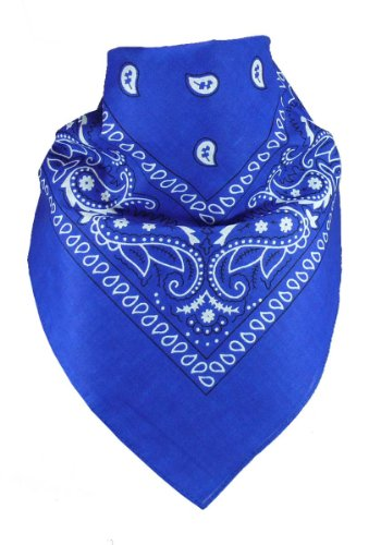 Harrys-Collection Unisex Bandana Bindetuch 100% Baumwolle (1 er 6 er oder 12 er Pack), Farbe:royalblau
