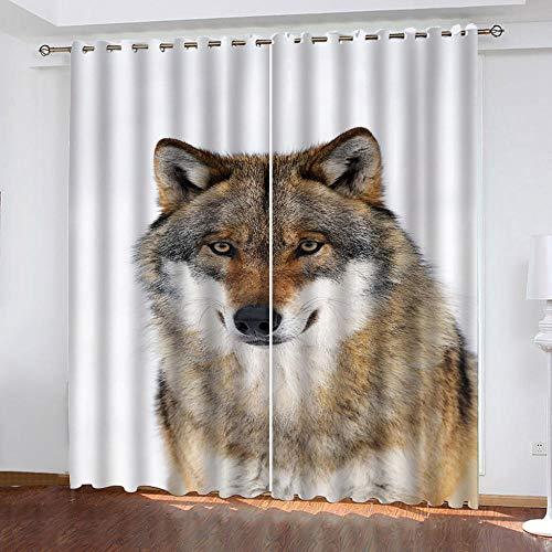 MENGBB Cortina Opaca Microfibra Infantil 140x160cm Impresión de Lobo Animal de Moda 95% Opaca Cortina aislantes de frío y Calor Decorativa con Ojales Estilo para Salón Habitación y Dormitorio