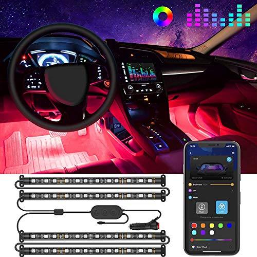 Govee Tiras LED Coche, 4pcs 22CM Luces LED APP Control Dos Líneas de Diseño a Prueba de Agua, Multi DIY Color Música Bajo el Tablero de Instrumentos Iluminación de Coches con Cargador de Coche, 12V