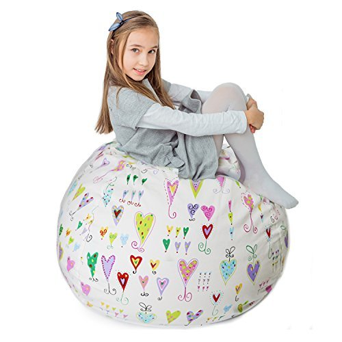 "Stuffed Animal Storage Bean Bag XXL – 100% Cotton Canvas Plush Toy Organizing Bag, Machine Washable (38"",Hearts) Comfortable & Soft Seat for Nursery | Stylish Chair/Ottoman/Pouf for Boys & Girls"