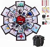 Erlliyeu Álbum de fotos plegable con caja de regalo sorpresa para Navidad, cumpleaños, aniversario, San Valentín, propuesta de boda, día de la madre, etc. (Large) (negro)