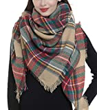 Trendy Plaid Blanket Scarf Women Big Oversized Long Scarves Warm Winter Tartan Checked Shawl Wrap Scarf Gift