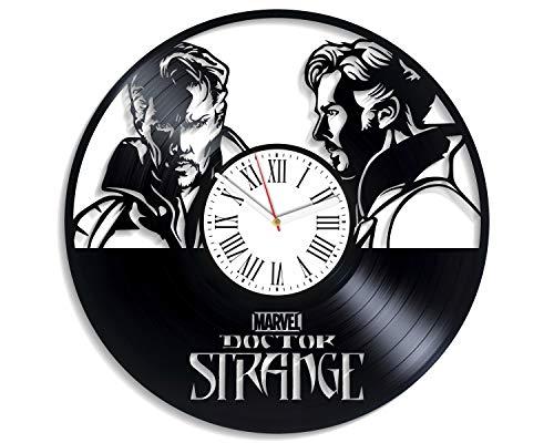 Kovides Doctor Strange Avengers-Wanduhr, Vinyl, Vintage-Vinyl, Superhelden-Film, Dekoration für Kinderzimmer, handgefertigtes Geschenk, Wanduhr, exklusive Dekoration Marvel Comics Geburtstagsgeschenk